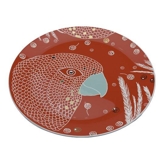 Korallpunane portselantaldrik linnuga 28cm